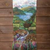Hanging based on views of the Dales & Lakes.  Merino, fancy yarns, hand dyed Wensleydale locks