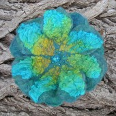 Merino two layer brooch with hand-dyed silk nuno and beaded centre.   (other colours available)